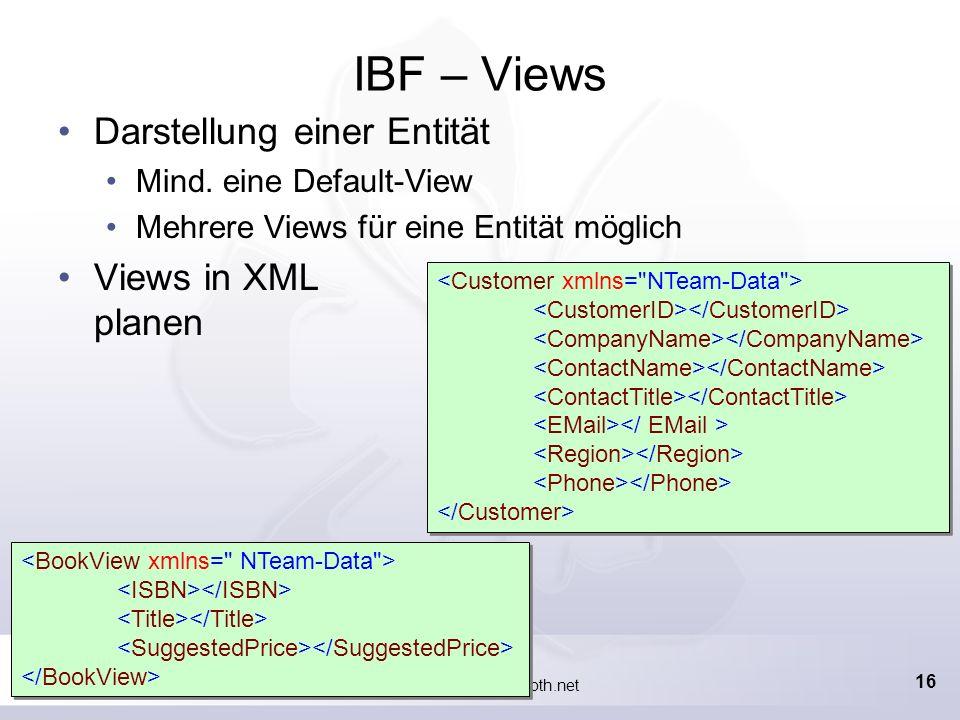 Marcel Gnoth, www.gnoth.net 15 Planung Anzeige eines Kunden aus der NorthWind-DB Suche nach KundenID (ALFKI, LETSS, … ) Definition von Entitäten Kunde Bestellung Operationen Was soll mit den Entitäten geschehen.