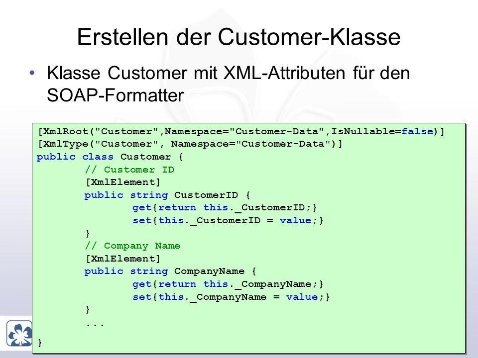 Marcel Gnoth, www.gnoth.net 20 Erstellen von Geschäftsklassen Nur, wenn Sie den Webservices selber erstellen Für jede View und für jede Referenz eine Klasse erstellen Diese Klassen mit XML-Attributen versehen Werden vom SOAP Formatter in das geplante XML serialisiert Diese Klassen dienen als Parameter für die zu erstellenden Webservices