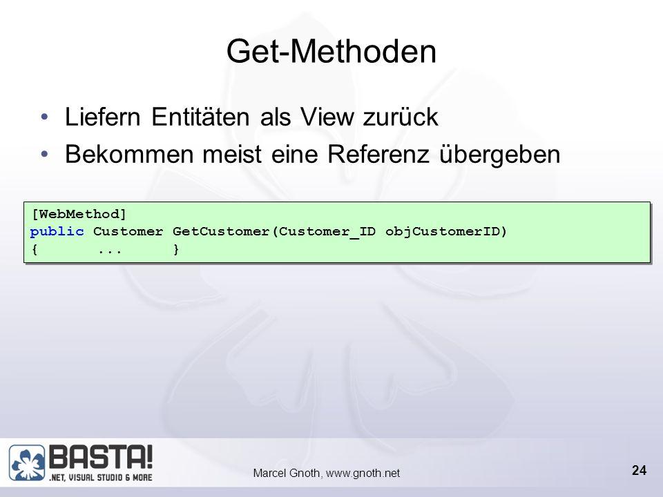 Marcel Gnoth, www.gnoth.net 23 Erstellen der Webservices Beliebige Webservices können eingesetzt und kombiniert werden Eigene Webservices für beliebig