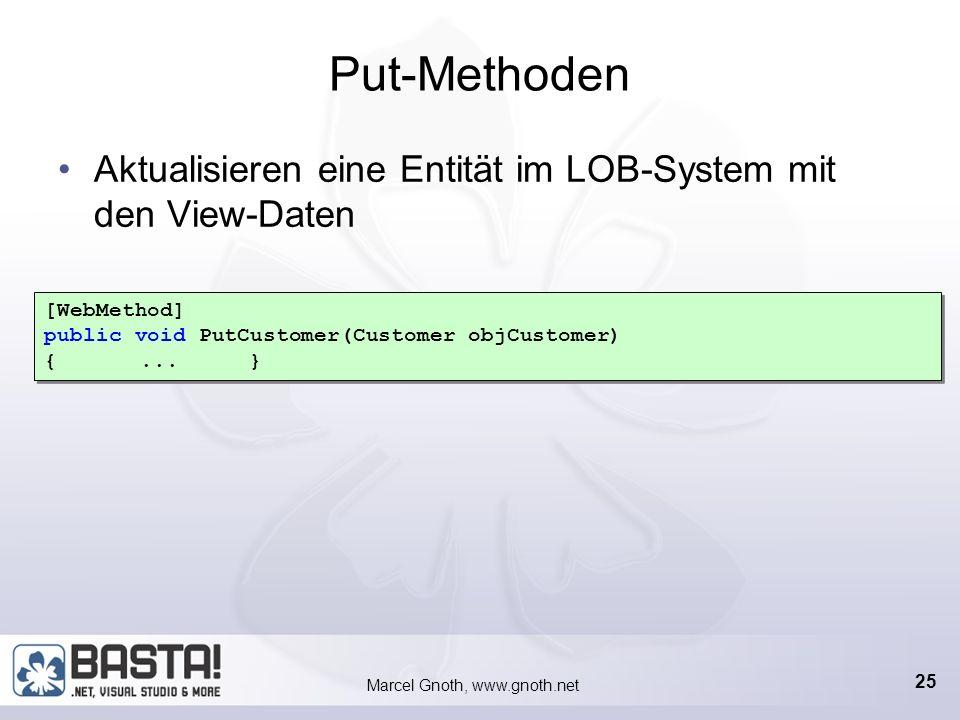 Marcel Gnoth, www.gnoth.net 24 Get-Methoden Liefern Entitäten als View zurück Bekommen meist eine Referenz übergeben [WebMethod] public Customer GetCustomer(Customer_ID objCustomerID) {...