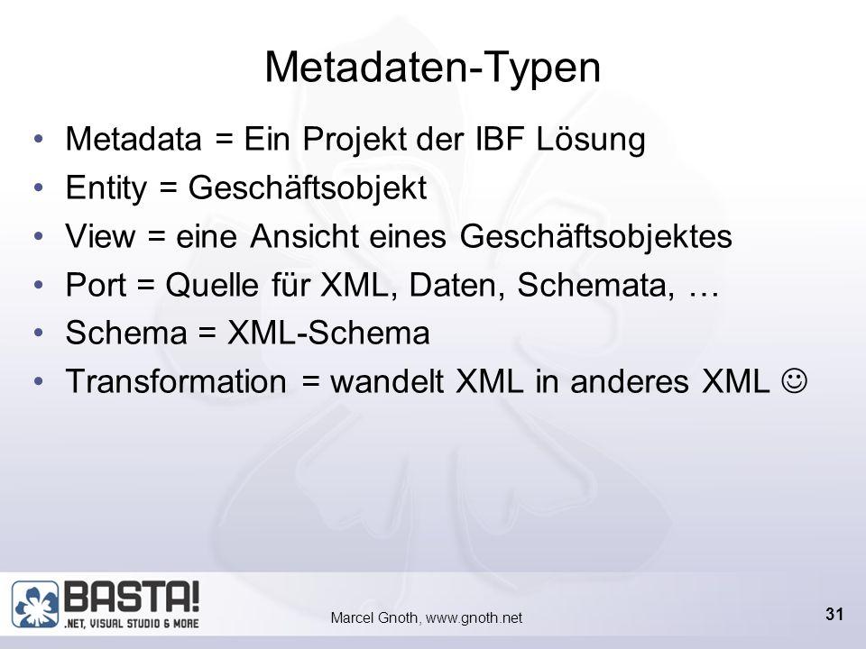 Marcel Gnoth, www.gnoth.net 30 Metadaten anlegen Zwei Gruppen von Metadaten Daten und Logik Webservice Zugriffe Operations, Entities Darstellung Views