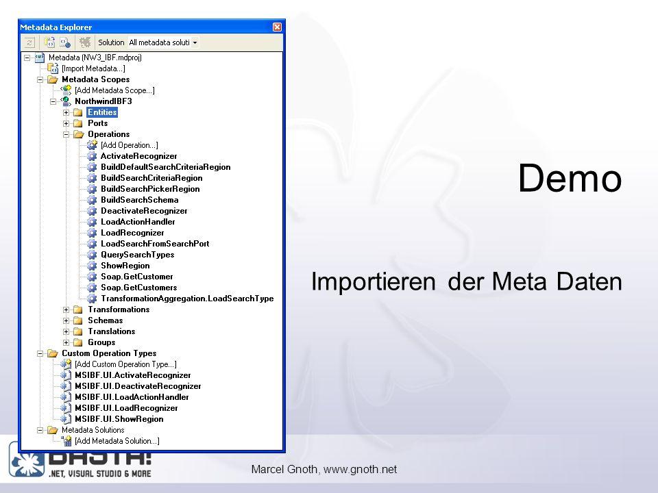 Marcel Gnoth, www.gnoth.net 34 Importieren von Meta Daten XML-Datei mit den MetaDaten ist leer Eine Vorlage aus dem Ressource Kit MOIBF1.5_Reskit_Templates Microsoft.InformationBridge.