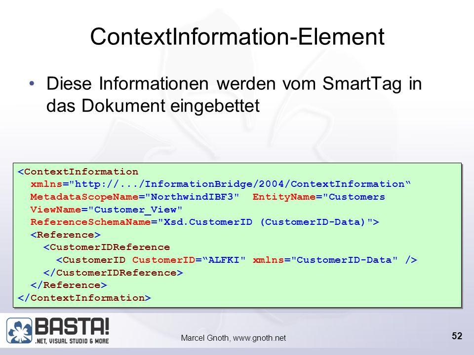 Marcel Gnoth, www.gnoth.net 51 IRecognizer IRecognizer.Initialize Laden von Daten IRecognizer.Recognize Word-Paragraph, Excel-Cell, Buchstabe oder Wor