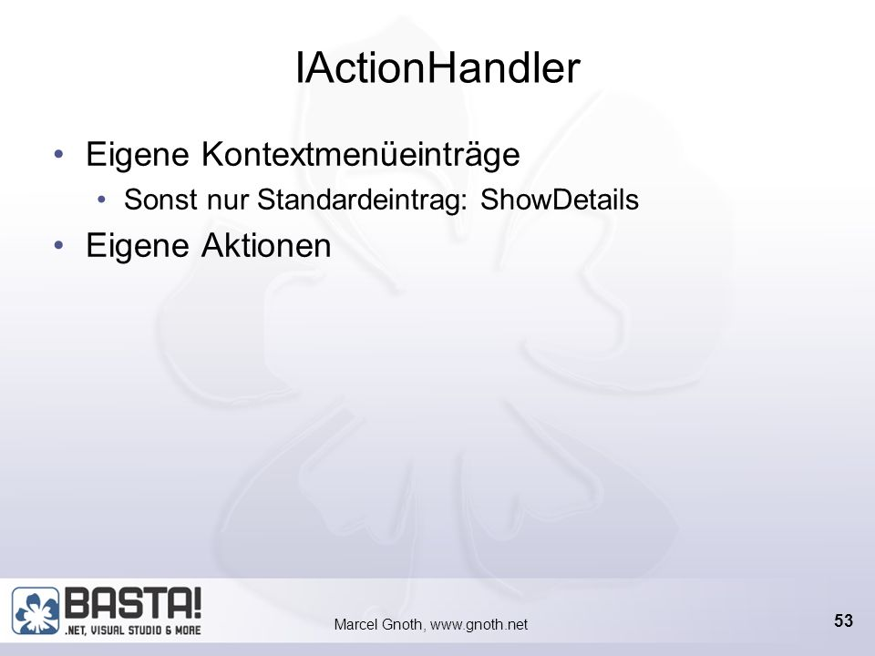 Marcel Gnoth, www.gnoth.net 52 ContextInformation-Element Diese Informationen werden vom SmartTag in das Dokument eingebettet