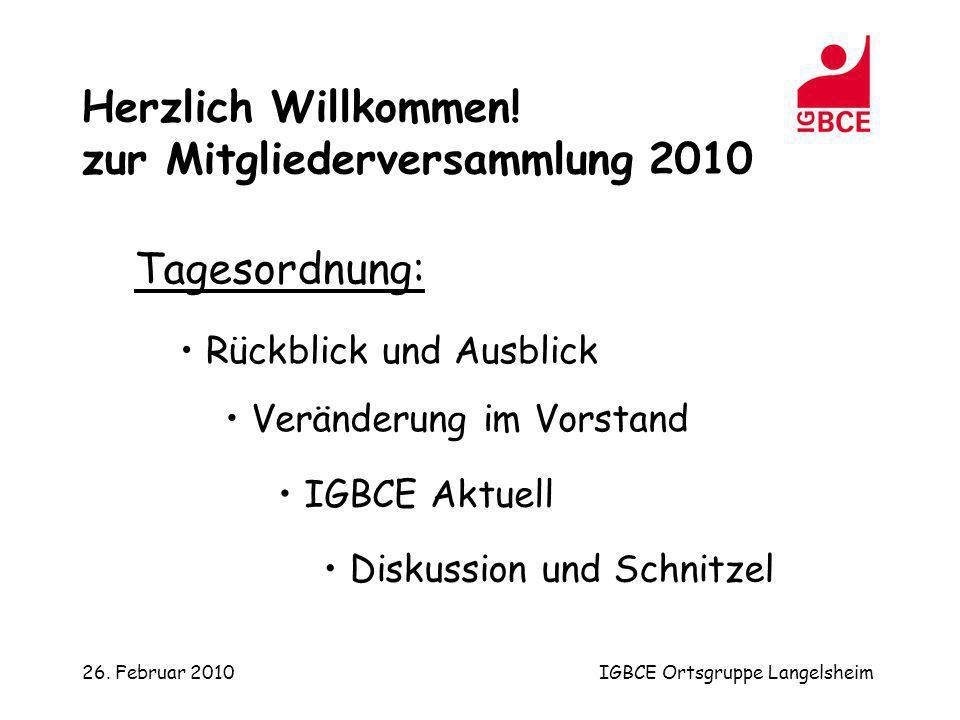 26. Februar 2010IGBCE Ortsgruppe Langelsheim Tagesordnung: Rückblick und Ausblick Veränderung im Vorstand IGBCE Aktuell Diskussion und Schnitzel Herzl