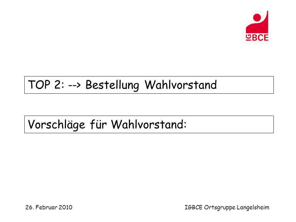 26. Februar 2010IGBCE Ortsgruppe Langelsheim TOP 2: --> Bestellung Wahlvorstand Vorschläge für Wahlvorstand: