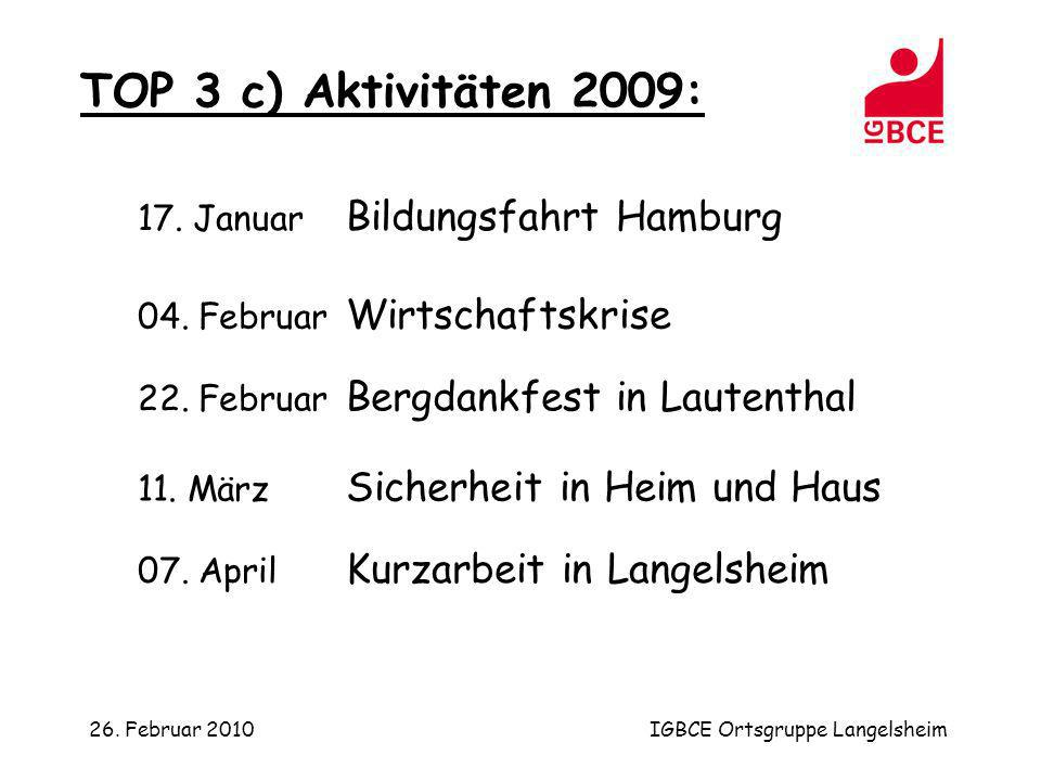 26. Februar 2010IGBCE Ortsgruppe Langelsheim TOP 3 c) Aktivitäten 2009: 22. Februar Bergdankfest in Lautenthal 04. Februar Wirtschaftskrise 07. April