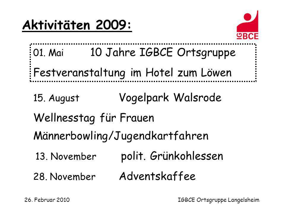 26. Februar 2010IGBCE Ortsgruppe Langelsheim Aktivitäten 2009: Männerbowling/Jugendkartfahren 15. August Vogelpark Walsrode 01. Mai 10 Jahre IGBCE Ort