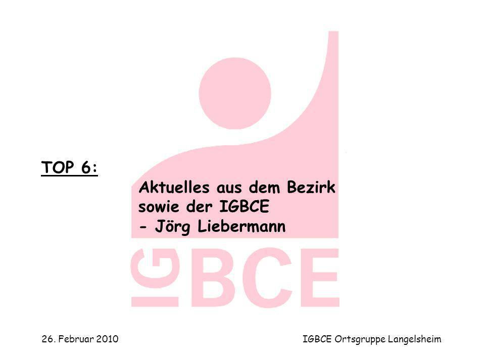 26. Februar 2010IGBCE Ortsgruppe Langelsheim TOP 6: Aktuelles aus dem Bezirk sowie der IGBCE - Jörg Liebermann