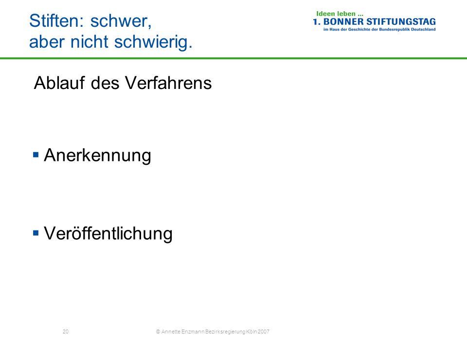 20 © Annette Enzmann Bezirksregierung Köln 2007 Stiften: schwer, aber nicht schwierig. Ablauf des Verfahrens Anerkennung Veröffentlichung
