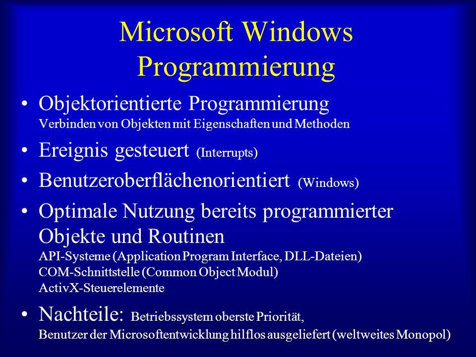 Microsoft Windows Programmierung Objektorientierte Programmierung Verbinden von Objekten mit Eigenschaften und Methoden Ereignis gesteuert (Interrupts) Benutzeroberflächenorientiert (Windows) Optimale Nutzung bereits programmierter Objekte und Routinen API-Systeme (Application Program Interface, DLL-Dateien) COM-Schnittstelle (Common Object Modul) ActivX-Steuerelemente Nachteile: Betriebssystem oberste Priorität, Benutzer der Microsoftentwicklung hilflos ausgeliefert (weltweites Monopol)