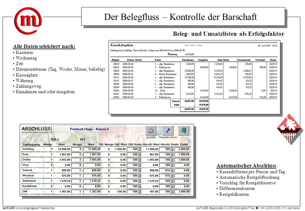 moWARE, Hauptstraße 13, 2340 Mödling bei Wien, : +43 (2236) 48595, www.moware.at moWARE ist ein eingetragenes Warenzeichen Beleg- und Umsatzlisten als