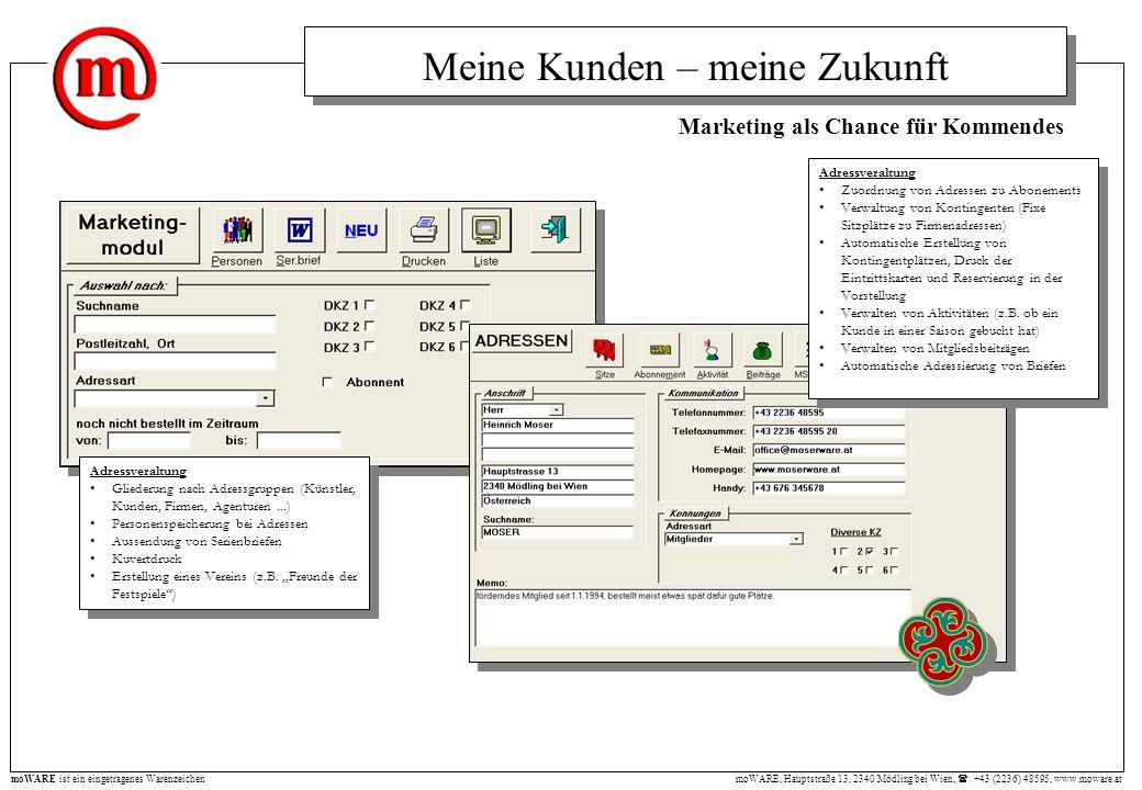 moWARE, Hauptstraße 13, 2340 Mödling bei Wien, : +43 (2236) 48595, www.moware.at moWARE ist ein eingetragenes Warenzeichen Meine Kunden – meine Zukunf