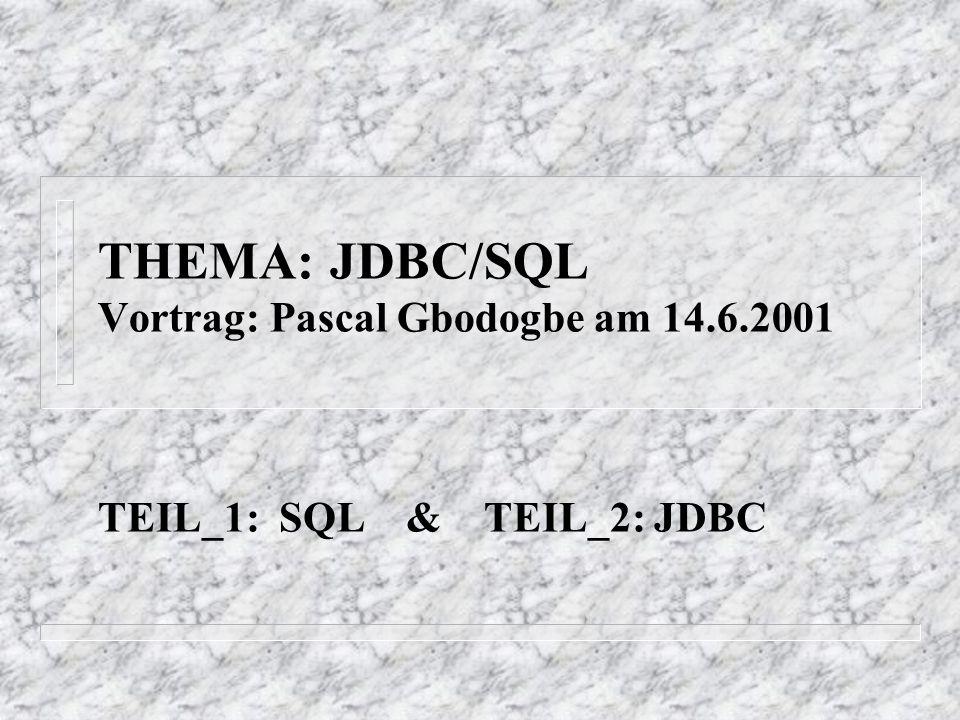 Einführung: Durch die Einführung der JDBC-Vorlesung können wir merken: *JDBC stellt eine standarisierte Methode zum Zugriff auf Datenbanken aus Java-Programmen zur Verfügung.