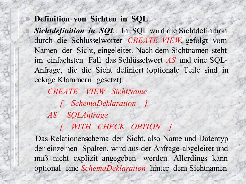 eingefügt werden, in der die Namen der Spalten festgelegt werden können.