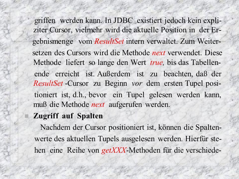 nen Datentypen und die korrespondierenden Java-Typen zur Verfügung.