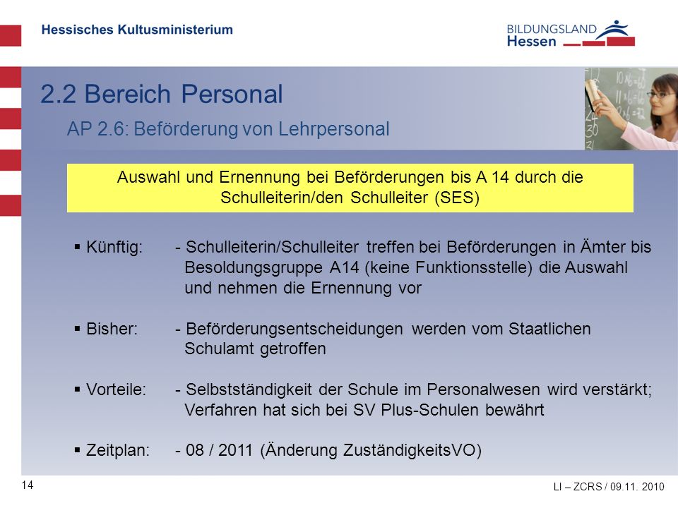 14 2.2 Bereich Personal AP 2.6: Beförderung von Lehrpersonal Auswahl und Ernennung bei Beförderungen bis A 14 durch die Schulleiterin/den Schulleiter