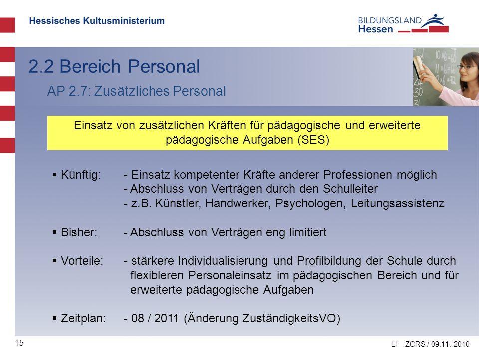 15 2.2 Bereich Personal AP 2.7: Zusätzliches Personal Einsatz von zusätzlichen Kräften für pädagogische und erweiterte pädagogische Aufgaben (SES) Kün