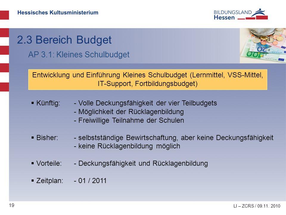 19 2.3 Bereich Budget AP 3.1: Kleines Schulbudget Entwicklung und Einführung Kleines Schulbudget (Lernmittel, VSS-Mittel, IT-Support, Fortbildungsbudg