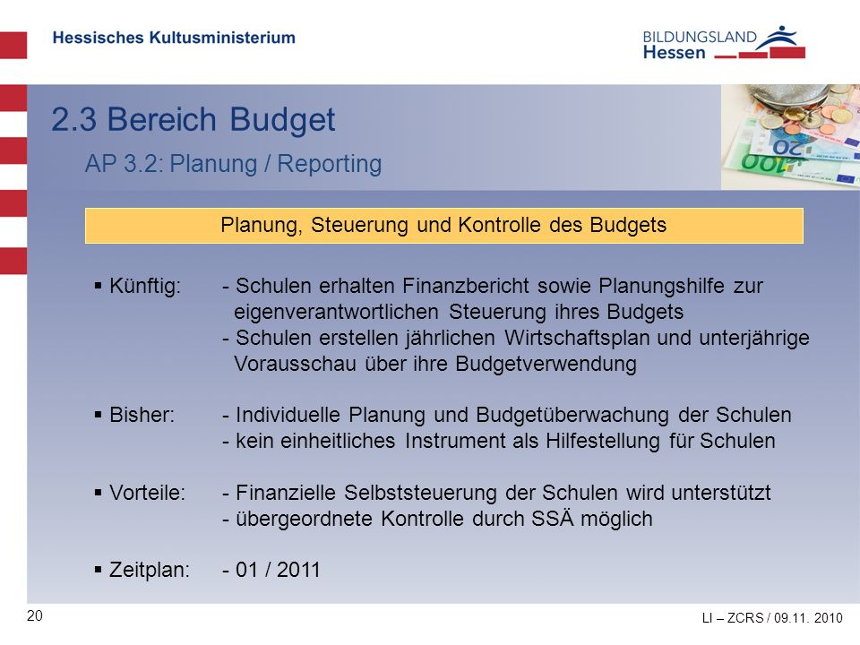 20 2.3 Bereich Budget AP 3.2: Planung / Reporting Planung, Steuerung und Kontrolle des Budgets Künftig:- Schulen erhalten Finanzbericht sowie Planungs