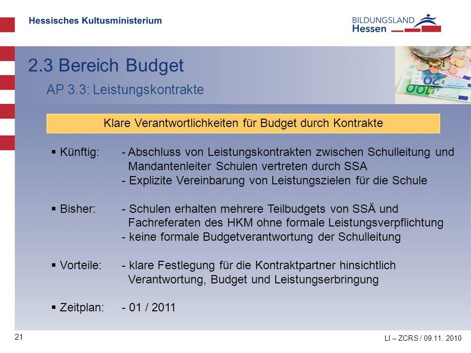 21 2.3 Bereich Budget AP 3.3: Leistungskontrakte Klare Verantwortlichkeiten für Budget durch Kontrakte Künftig:- Abschluss von Leistungskontrakten zwi
