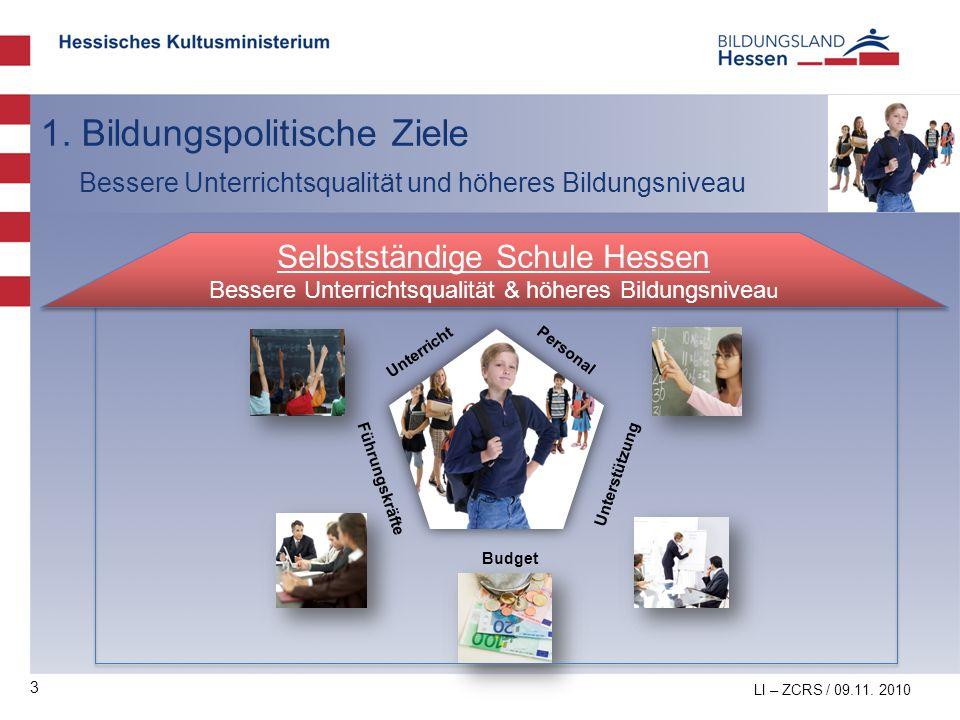 3 1. Bildungspolitische Ziele Bessere Unterrichtsqualität und höheres Bildungsniveau LI – ZCRS / 09.11. 2010 Führungskräfte Personal Unterricht Budget