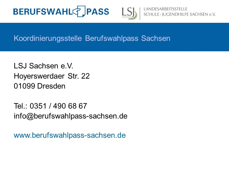 Koordinierungsstelle Berufswahlpass Sachsen LSJ Sachsen e.V.