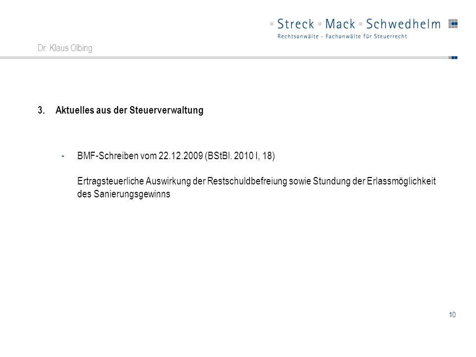 10 Dr. Klaus Olbing 3.Aktuelles aus der Steuerverwaltung -BMF-Schreiben vom 22.12.2009 (BStBl. 2010 I, 18) Ertragsteuerliche Auswirkung der Restschuld