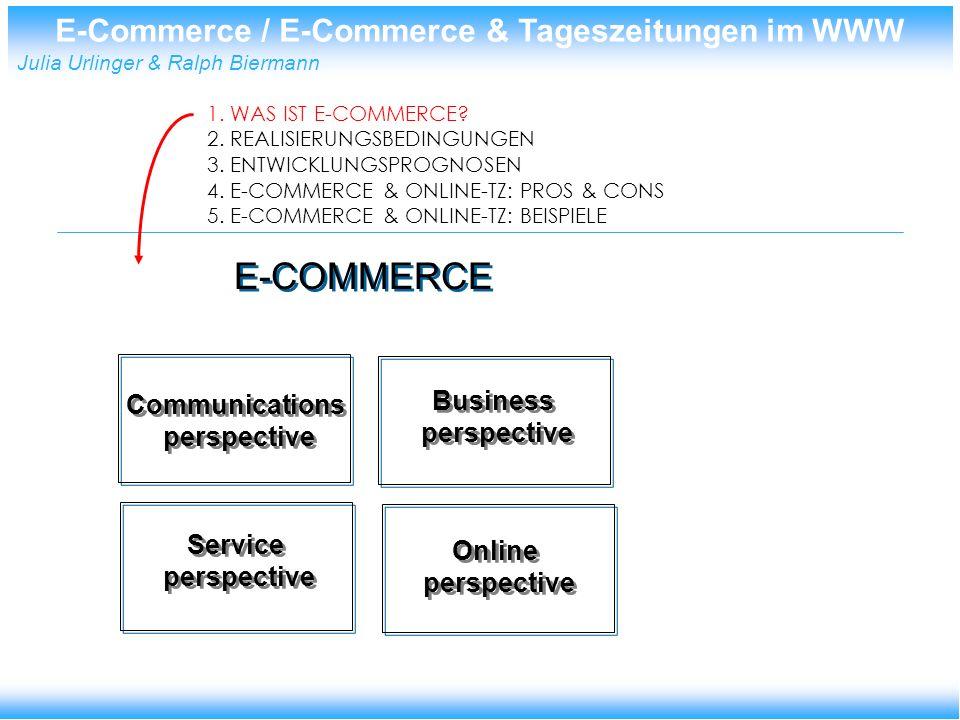 E-Commerce / E-Commerce & Tageszeitungen im WWW Julia Urlinger & Ralph Biermann E-Commerce in den USA