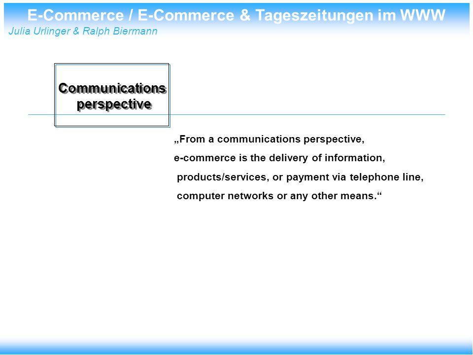 E-Commerce / E-Commerce & Tageszeitungen im WWW Julia Urlinger & Ralph Biermann Gewährleistung von Authentizität Verbindlichkeit Konvertierbarkeit Der elektronische Handel / Zahlungsverkehr muss folgenden Geboten genügen: Rechtliche Erfordernisse