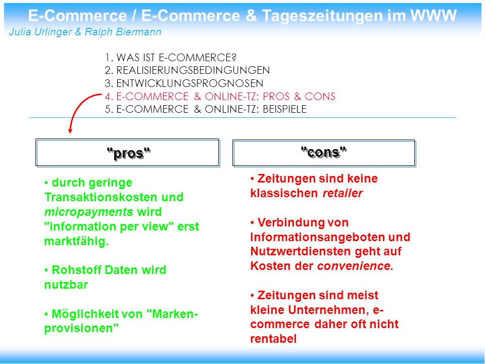 E-Commerce / E-Commerce & Tageszeitungen im WWW Julia Urlinger & Ralph Biermann 1.