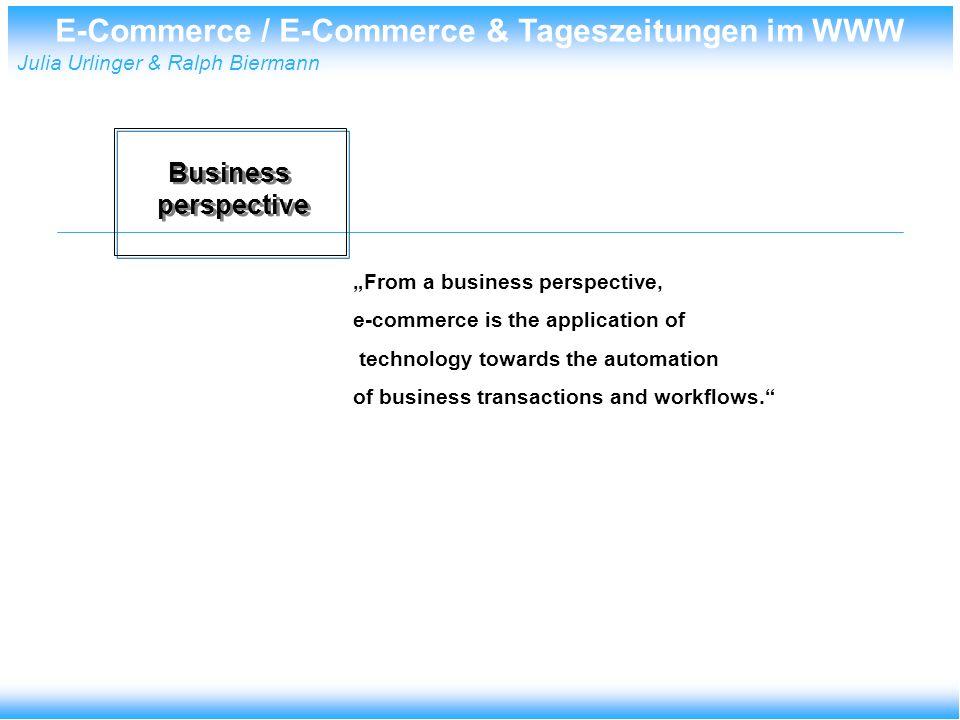 E-Commerce / E-Commerce & Tageszeitungen im WWW Julia Urlinger & Ralph Biermann E-Commerce in Deutschland Umsätze im E-commerce in Mrd.