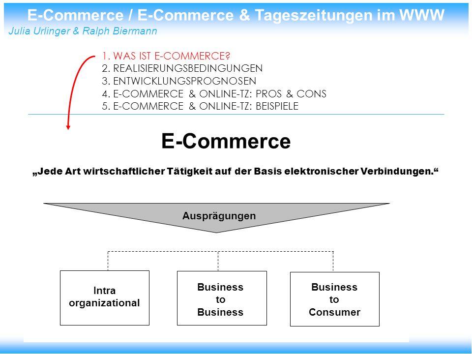 E-Commerce / E-Commerce & Tageszeitungen im WWW Julia Urlinger & Ralph Biermann Psychologische Erfordernisse Êinstellungen deutscher Manager zum E-commerce E-commerce......