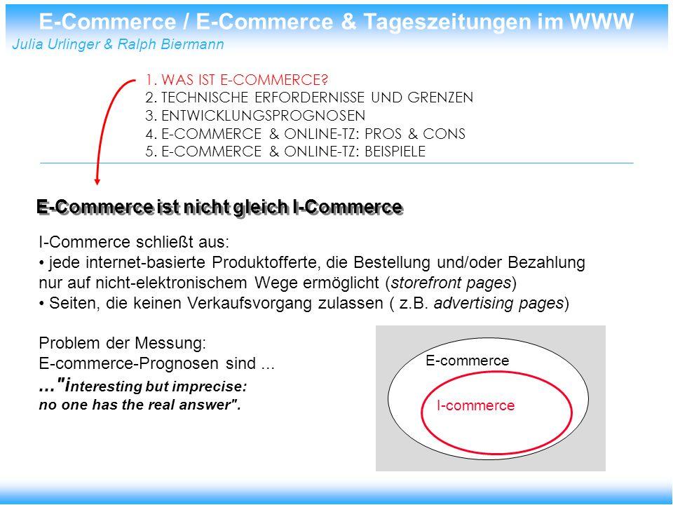E-Commerce / E-Commerce & Tageszeitungen im WWW Julia Urlinger & Ralph Biermann Technische Erfordernisse 1.