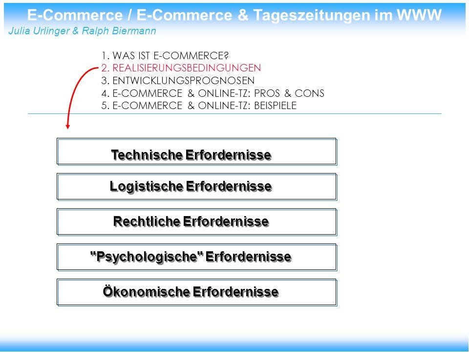 E-Commerce / E-Commerce & Tageszeitungen im WWW Julia Urlinger & Ralph Biermann Darstellungswerkzeuge: z.B.