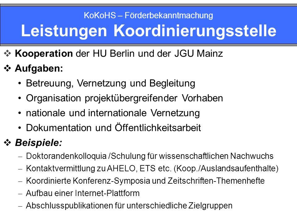 KoKoHS – Förderbekanntmachung Leistungen Koordinierungsstelle Kooperation der HU Berlin und der JGU Mainz Aufgaben: Betreuung, Vernetzung und Begleitu