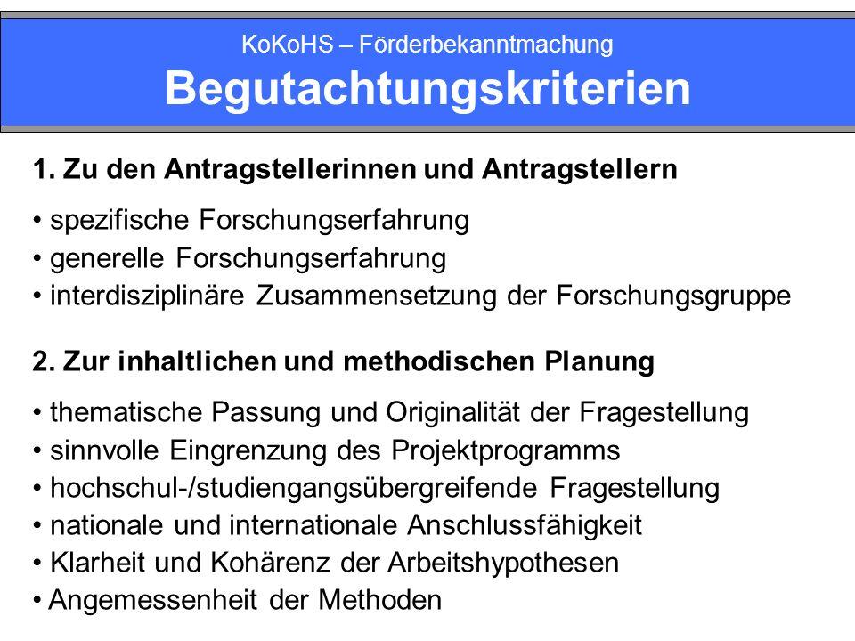 KoKoHS – Förderbekanntmachung Begutachtungskriterien 1.