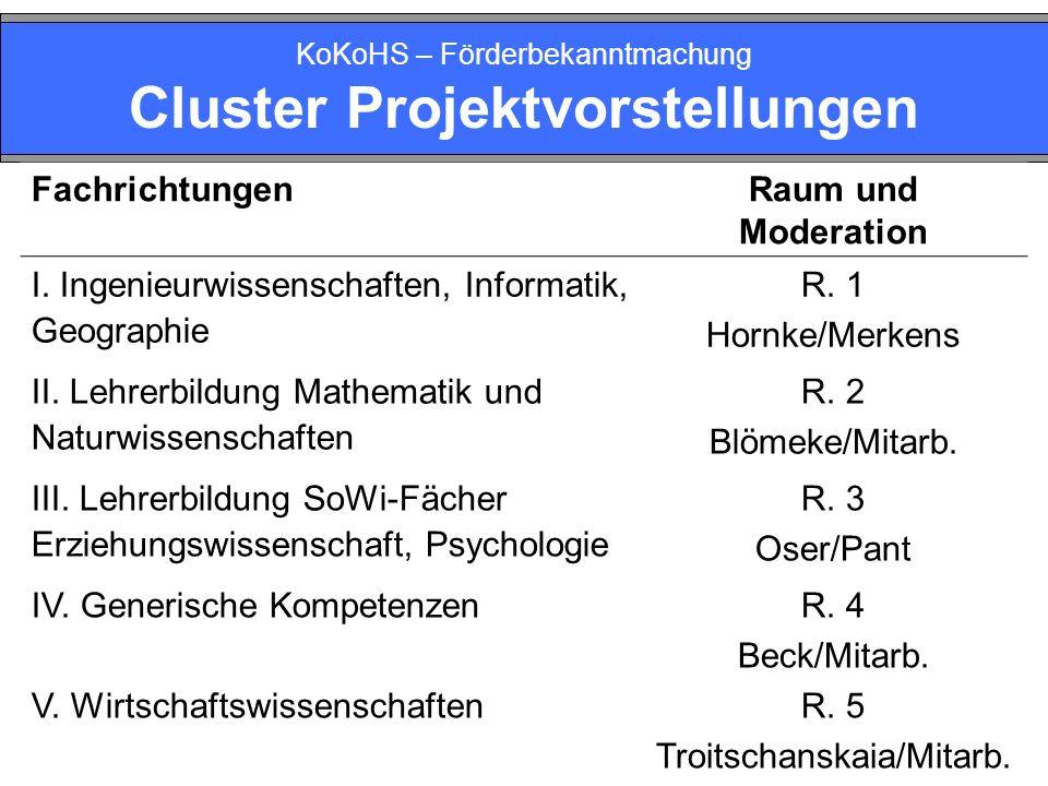 KoKoHS – Förderbekanntmachung Cluster Projektvorstellungen FachrichtungenRaum und Moderation I. Ingenieurwissenschaften, Informatik, Geographie R. 1 H