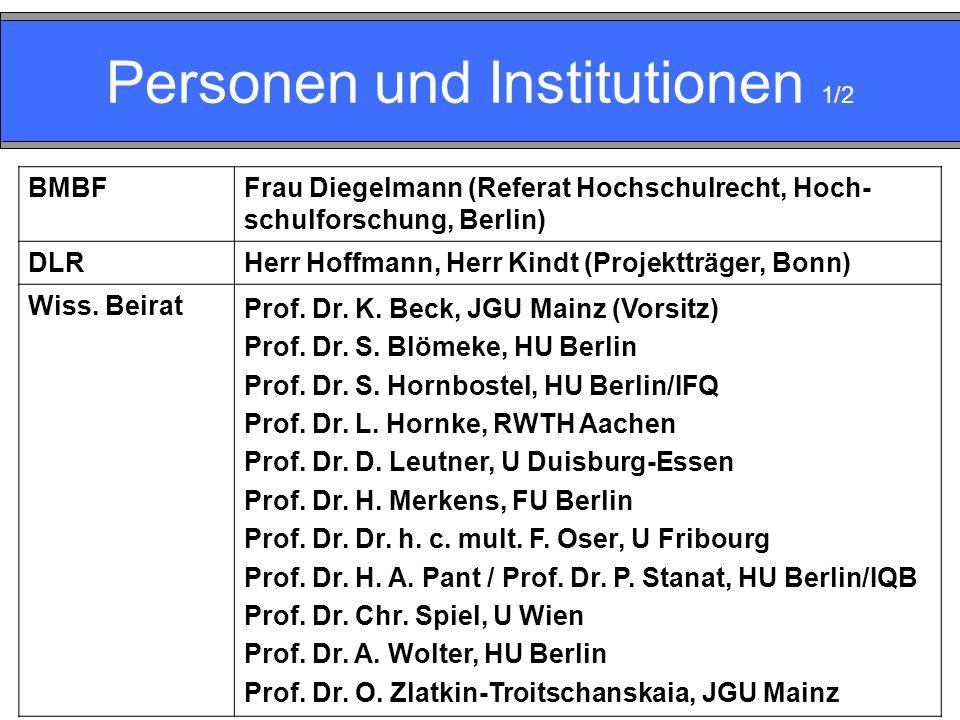 Personen und Institutionen 1/2 BMBFFrau Diegelmann (Referat Hochschulrecht, Hoch- schulforschung, Berlin) DLRHerr Hoffmann, Herr Kindt (Projektträger, Bonn) Wiss.