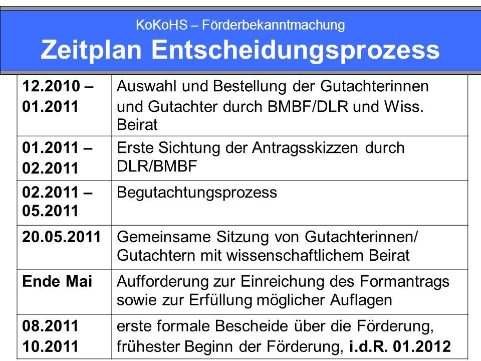 KoKoHS – Förderbekanntmachung Zeitplan Entscheidungsprozess 12.2010 – 01.2011 Auswahl und Bestellung der Gutachterinnen und Gutachter durch BMBF/DLR und Wiss.