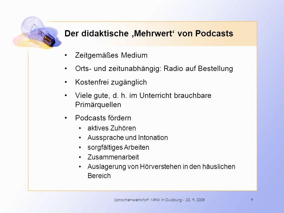 Zeitgemäßes Medium Orts- und zeitunabhängig: Radio auf Bestellung Kostenfrei zugänglich Viele gute, d.