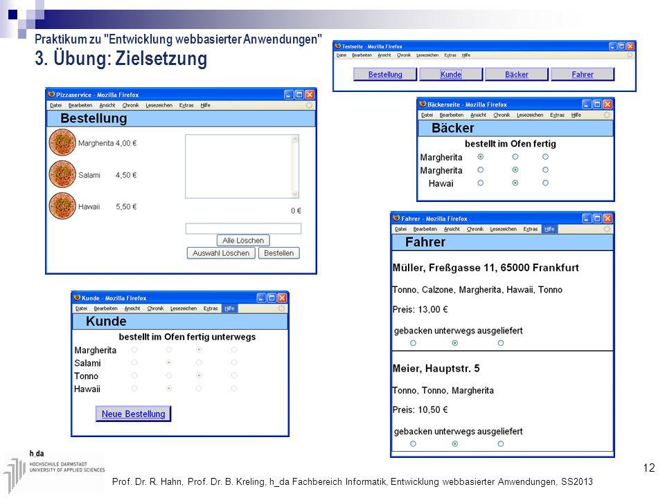 12 Prof. Dr. R. Hahn, Prof. Dr. B. Kreling, h_da Fachbereich Informatik, Entwicklung webbasierter Anwendungen, SS2013 3. Übung: Zielsetzung Praktikum
