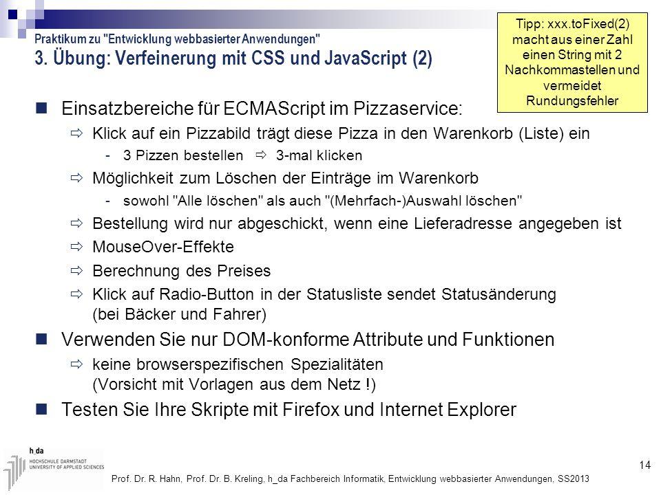 14 Prof. Dr. R. Hahn, Prof. Dr. B. Kreling, h_da Fachbereich Informatik, Entwicklung webbasierter Anwendungen, SS2013 3. Übung: Verfeinerung mit CSS u