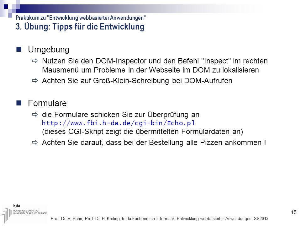 15 Prof. Dr. R. Hahn, Prof. Dr. B. Kreling, h_da Fachbereich Informatik, Entwicklung webbasierter Anwendungen, SS2013 3. Übung: Tipps für die Entwickl