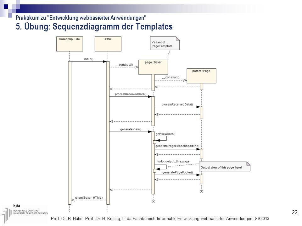 22 Prof. Dr. R. Hahn, Prof. Dr. B. Kreling, h_da Fachbereich Informatik, Entwicklung webbasierter Anwendungen, SS2013 5. Übung: Sequenzdiagramm der Te