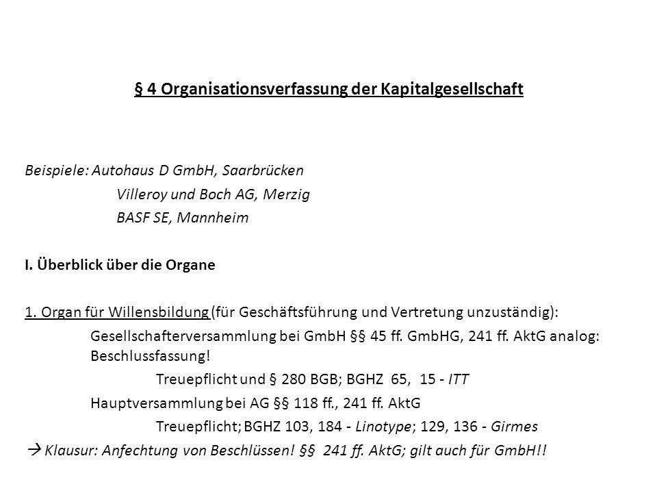 § 4 Organisationsverfassung der Kapitalgesellschaft Beispiele: Autohaus D GmbH, Saarbrücken Villeroy und Boch AG, Merzig BASF SE, Mannheim I. Überblic
