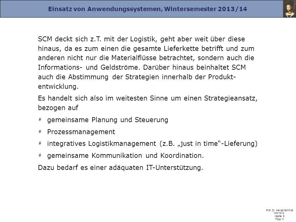 Einsatz von Anwendungssystemen, Wintersemester 2013/14 Prof. Dr. Herrad Schmidt WS 13/14 Kapitel 8 Folie 11 SCM deckt sich z.T. mit der Logistik, geht