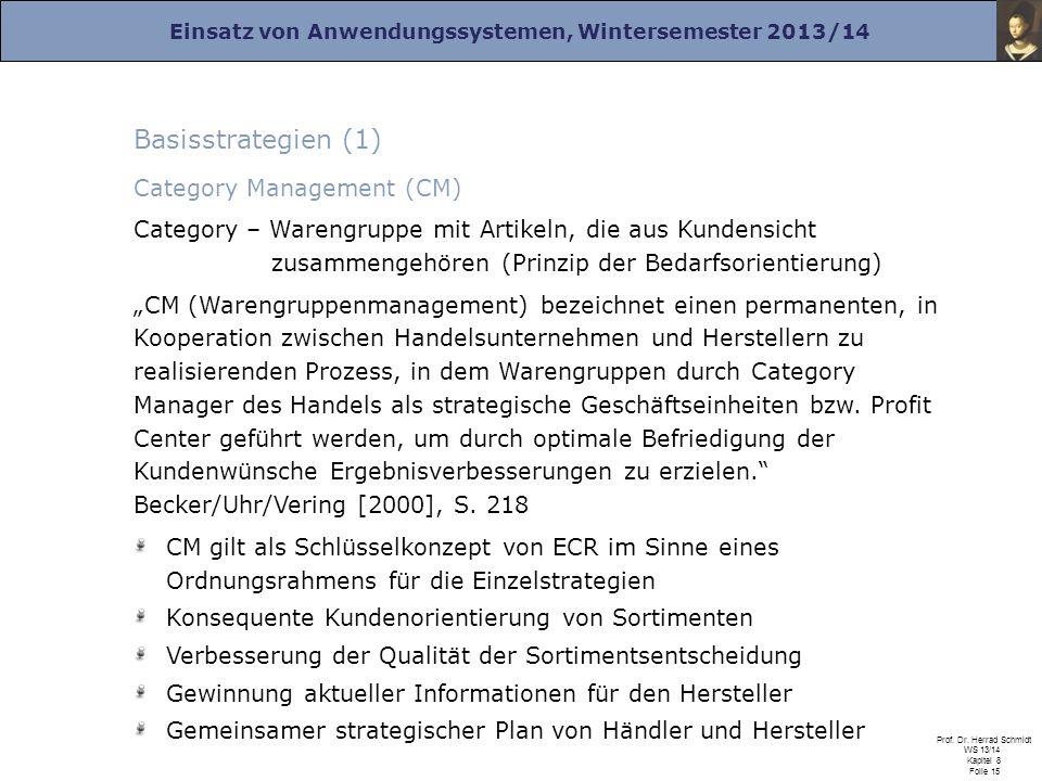 Einsatz von Anwendungssystemen, Wintersemester 2013/14 Prof. Dr. Herrad Schmidt WS 13/14 Kapitel 8 Folie 15 Basisstrategien (1) Category Management (C