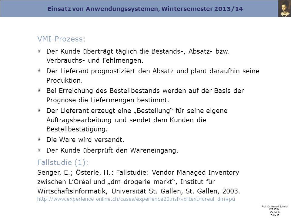Einsatz von Anwendungssystemen, Wintersemester 2013/14 Prof. Dr. Herrad Schmidt WS 13/14 Kapitel 8 Folie 17 VMI-Prozess: Der Kunde überträgt täglich d