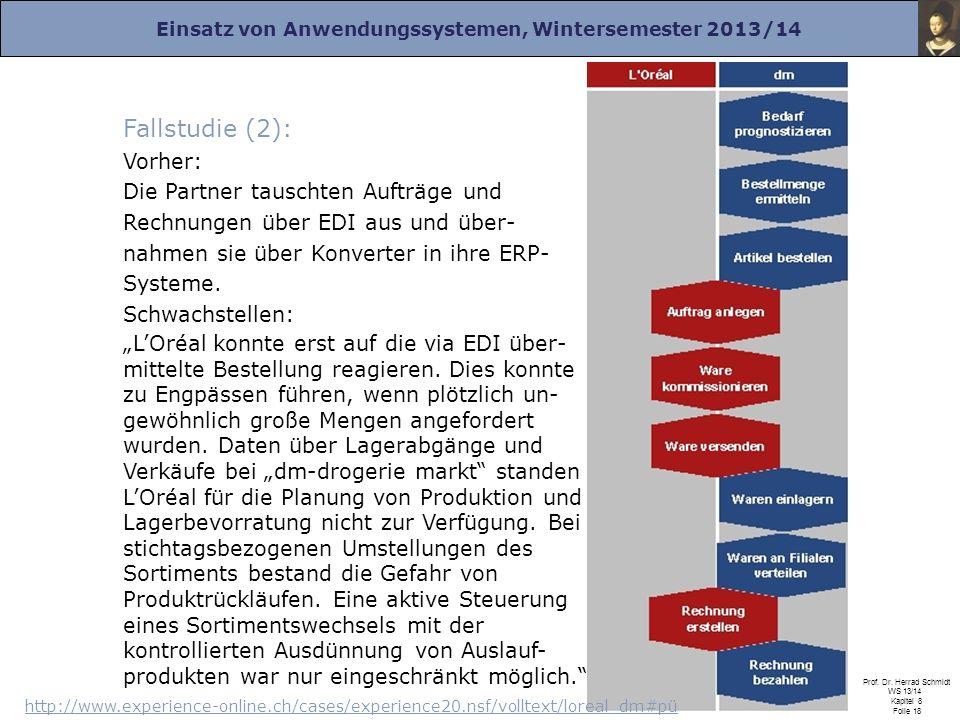 Einsatz von Anwendungssystemen, Wintersemester 2013/14 Prof. Dr. Herrad Schmidt WS 13/14 Kapitel 8 Folie 18 Fallstudie (2): Vorher: Die Partner tausch